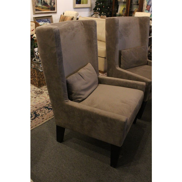 Gray Vintage Mid Century Plush Contemporary Wing Chairs- A Pair For Sale - Image 8 of 9
