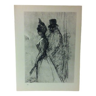 """Circa 1980 """"Leaving the Theatre 1898"""" Print of a Toulouse-Lautrec Drawing For Sale"""