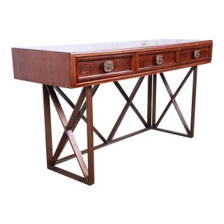 Century Furniture Modern Walnut X-Base Console Table or Writing Desk, Newly Refinished For Sale