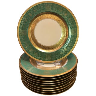 Pickard Gold Encrusted Dinner Service Plates - Set of 10 For Sale