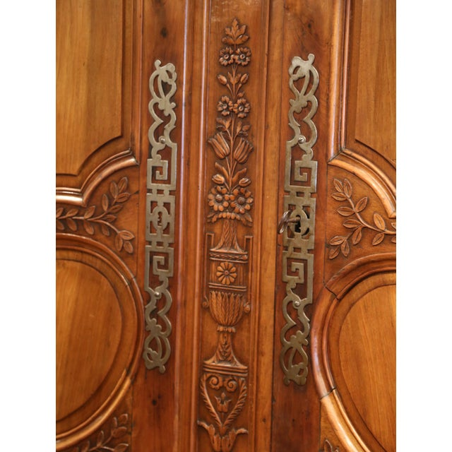 Exceptional 18th Century French Carved Walnut Wedding Armoire from Provence For Sale - Image 9 of 11