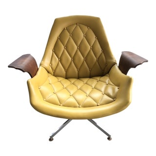 Mid Century Modern George Mulhauser for Plycraft Yellow Bentwood Bat Chair Eames Style Lounge Chair