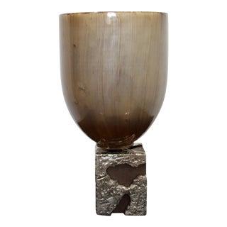 Contemporary Modern Large Brutalist Metal & Painted Glass Art Vase Vessel 1980s For Sale