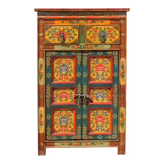 Orange Yellow Teal Tibetan Floral End Table Nightstand Cabinet For Sale