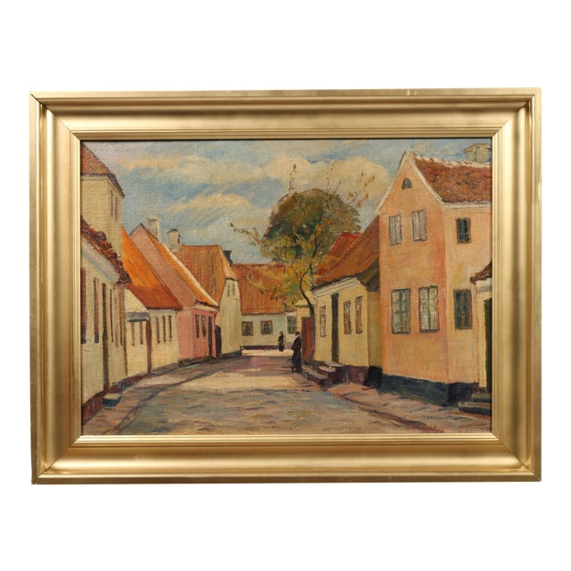 "1929 Andreas Moe ""Village in Late Summer"" Painting - Image 1 of 3"
