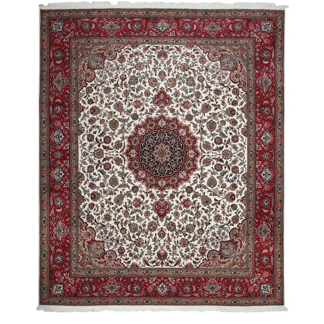 """Tabriz, Hand Knotted Burgandy White Medallion Wool Area Rug - 8' 2"""" X 9' 10"""" For Sale"""