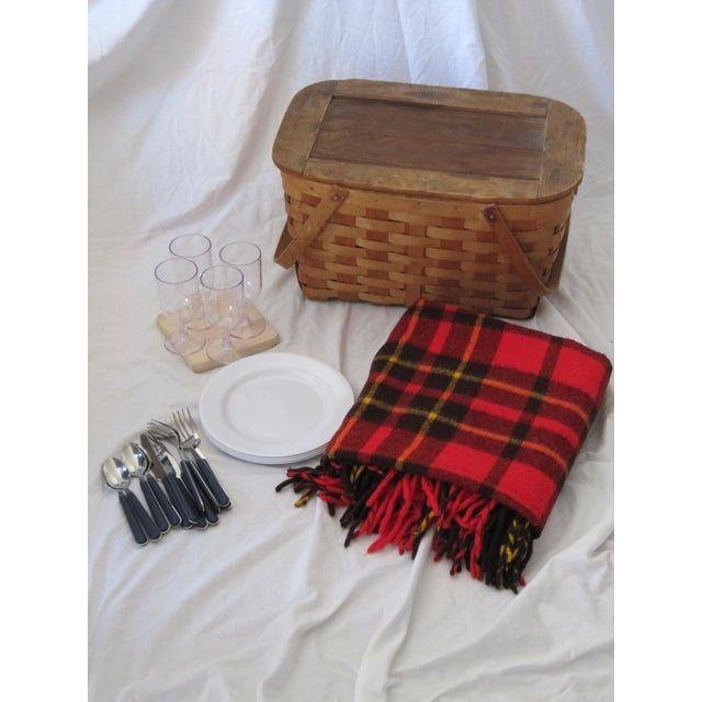 Vintage Picnic Basket Set With Wool Plaid Blanket For Sale - Image 9 of 9
