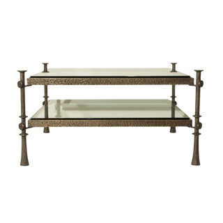 Tom Corbin Two Tier Coffee Table in Solid Bronze For Sale