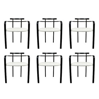 Contemporary Modern Loewenstein Set of 6 Memphis Metal Dining Armchairs 1980s For Sale