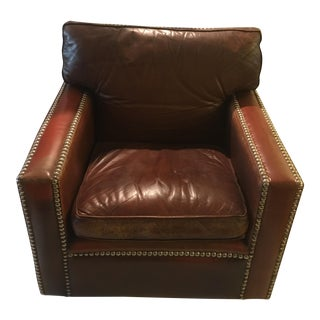 Vintage English Leather Arm Chair For Sale
