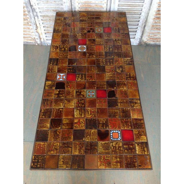 French 1960s Dining Table With Ceramic Tiled Top - Image 7 of 11