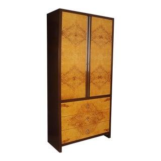 Mid Century Burl Wood Armoire Dresser Milo Baughman Style For Sale
