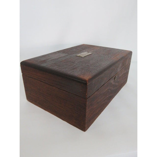 Industrial Early 1900s Oak Tabletop Cigar Tobacco Humidor Chest Box For Sale - Image 3 of 11