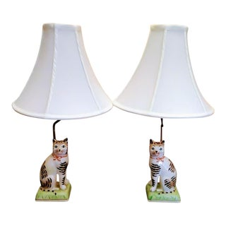 A Pair Mottahedeh Italian Staffordshire Whimsical Cat Table Lamps