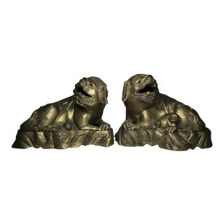 Brass Foo Dog Censers Shishi Lions - a Pair For Sale