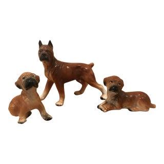 Vintage Boxer Dog Figurines - Set of 3 For Sale