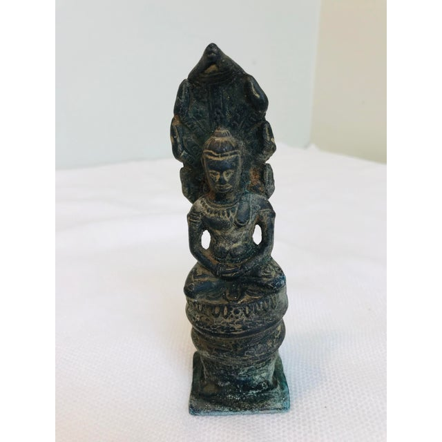 Metal Antique Khmer Buddah Naga Hand Crafted Cast Bronze Art Sculpture For Sale - Image 7 of 7