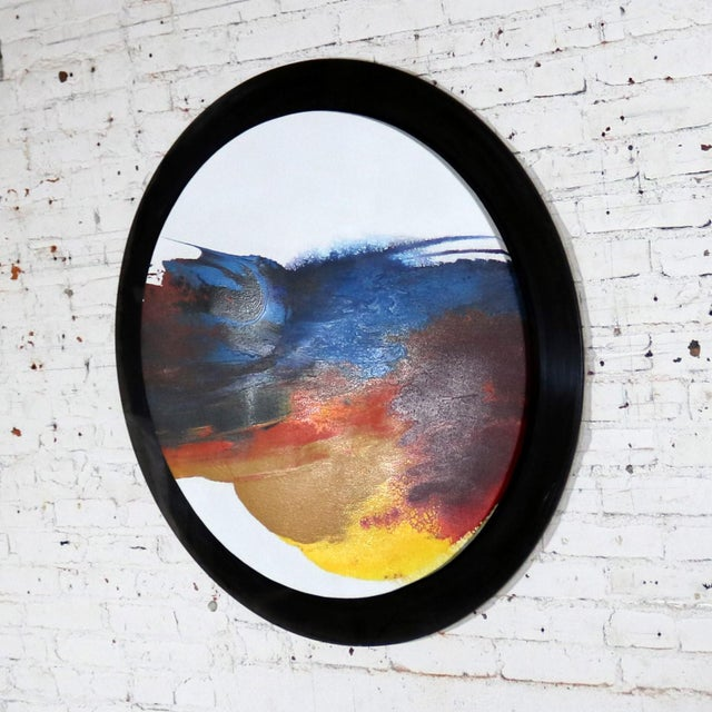 Abstract Round Acrylic Canvas Painting Mounted on Smoke Plexiglass by Ted R. Lownik For Sale - Image 6 of 13