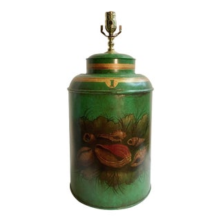 English Export Tea Caddy Green Sea Shell Design Lamp