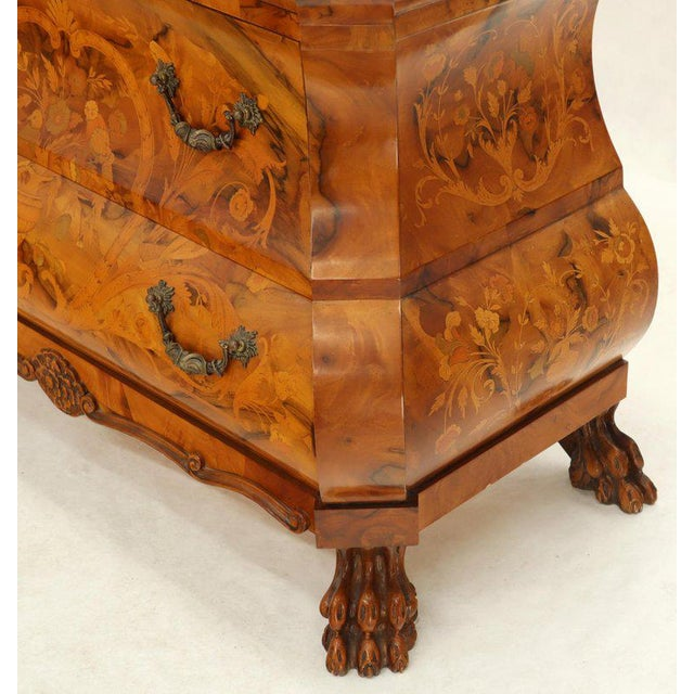 Italian Bombe Inlay Olive Wood Dresser Drop Front Jewerly Compartment Secretary For Sale - Image 10 of 13