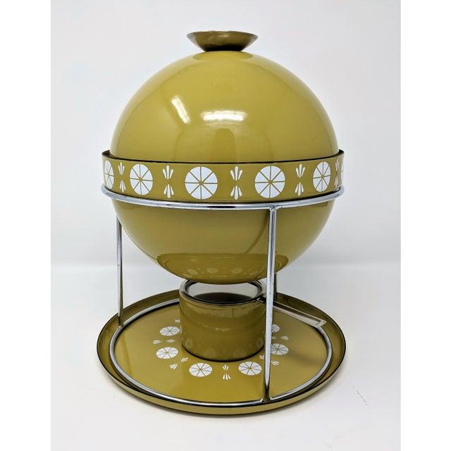 Mid-century Cathrineholm enameled metal fondue set by Grete Prytz Kittelsen in Viking Green with Cathrineholm's...