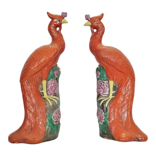 Large Chinese Ceramic Phoenix Sculpture Figurines - a Pair - Feng Shui - Asian Palm Beach Boho Chic Animals Birds Tropical Coastal For Sale