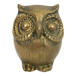 Solid Brass Owl Paper Weight For Sale