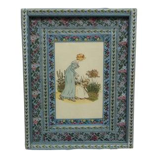 """Vintage Mid-Century Kate Greenway """"Mother & Daughter"""" Framed Original Print For Sale"""