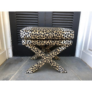 Mid-Century Modern Leopard Suede Upholstered X Benches - a Pair Preview