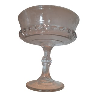 Mid-Century Cut Glass Centerpiece/ Footed Fruit Bowl With Etched Grapes For Sale