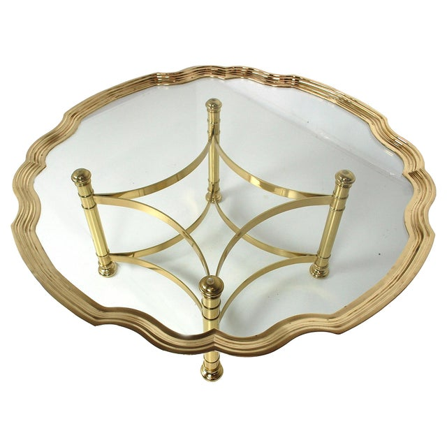 Scalloped Brass & Glass Cocktail Table - Image 7 of 8
