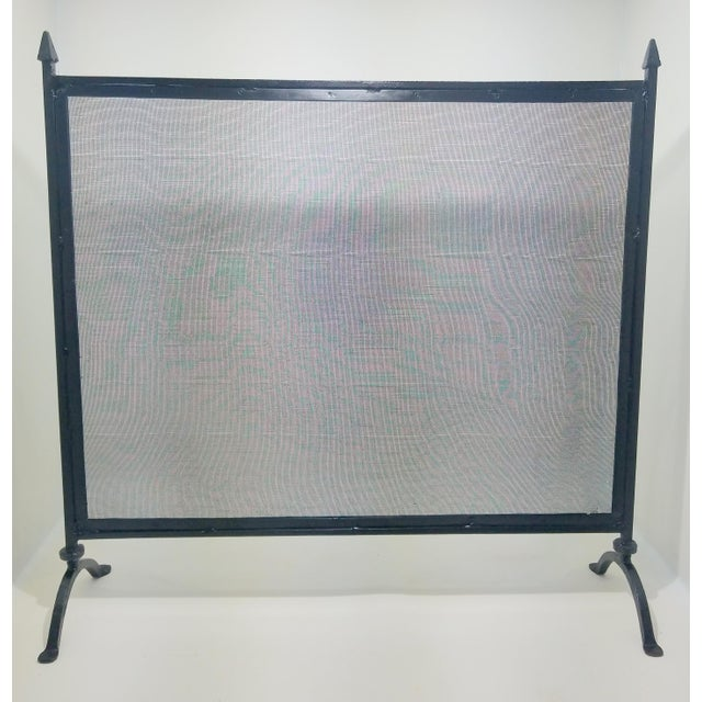Antique Farmhouse Style Wrought Iron Fireplace Screen For Sale In Sacramento - Image 6 of 8
