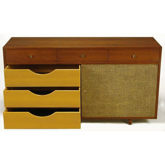 Walnut & Lacquered Linen Front Nine-Drawer Cabinet For Sale - Image 4 of 10
