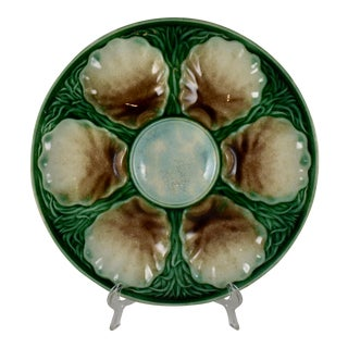 19th Century Salins French Majolica Oyster Plate For Sale