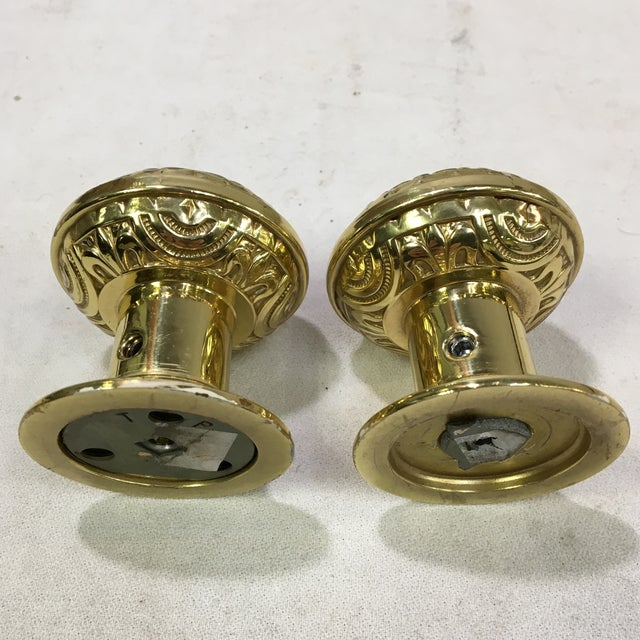 2010s Antique Style Eastlake Heavy Brass Doorknobs - a Pair For Sale - Image 5 of 7