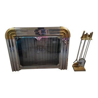1980's Deco Revival Brass, Chrome, Glass Fireplace Frame and Tool Set For Sale