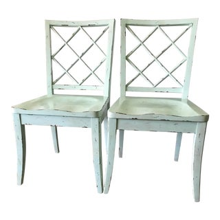Aqua Lattice X-Back Side Chairs - A Pair For Sale