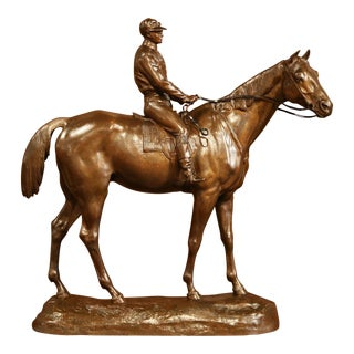 19th Century French Bronze Racehorse and Jockey Sculpture Signed Paul Comolera