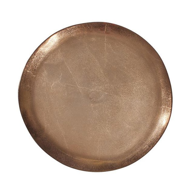 """""""This oval footed platter organically shaped from thick aluminum metal, will beautifully adorn your next dinner party or..."""