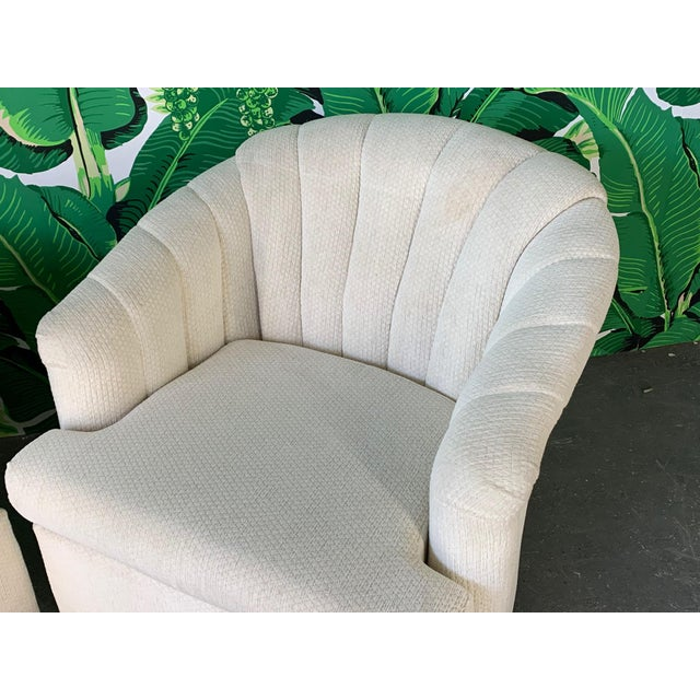Mid-Century Modern Vintage Channel Back Tufted Swivel Club Chairs - Set of Two For Sale - Image 3 of 8