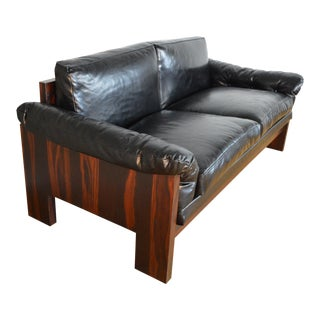 Milo Baughman for Thayer Coggin Leather & Rosewood Case Love Seat Sofa For Sale