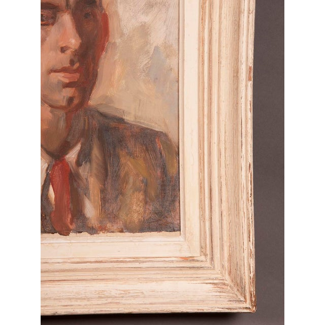 Red 1960s Portrait of Gentleman's Bust English Oil on Canvas Painting by Victor Hume Moody For Sale - Image 8 of 8