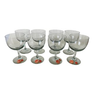 Vintage 1950s Holmegaard Denmark Elsinore Smoke Glass Stemware - Set of 8 For Sale