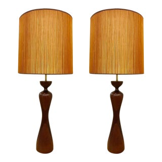 Pair of Phillip Lloyd Powell Walnut Lamps For Sale