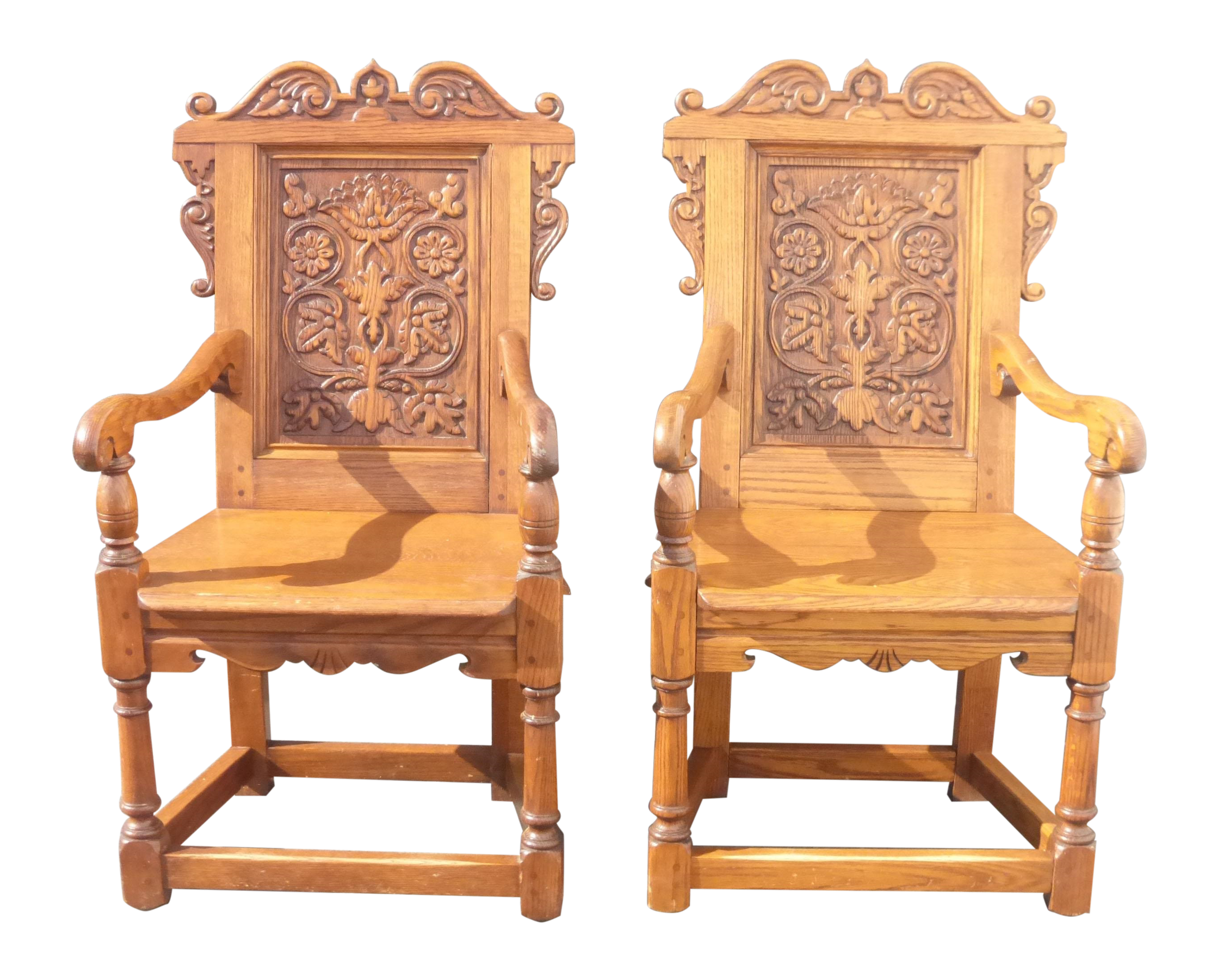 Good Spanish Revival Ornate Carved Throne Chairs   Pair   Image 1 Of 11