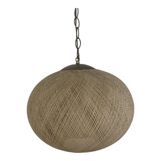 1970s Hanging Woven Textile Circular Lamp For Sale