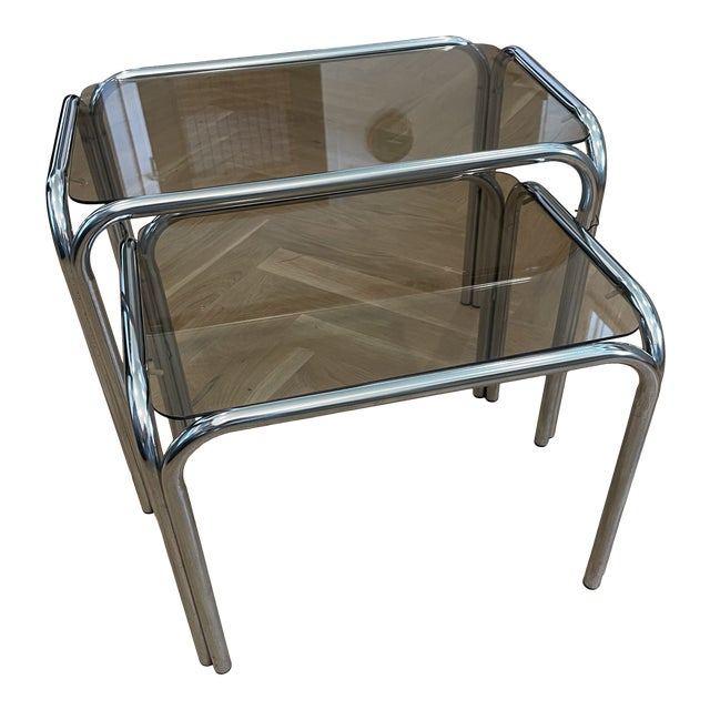 1970s Chrome and Smoked Glass Nesting Tables - Set of 2 For Sale