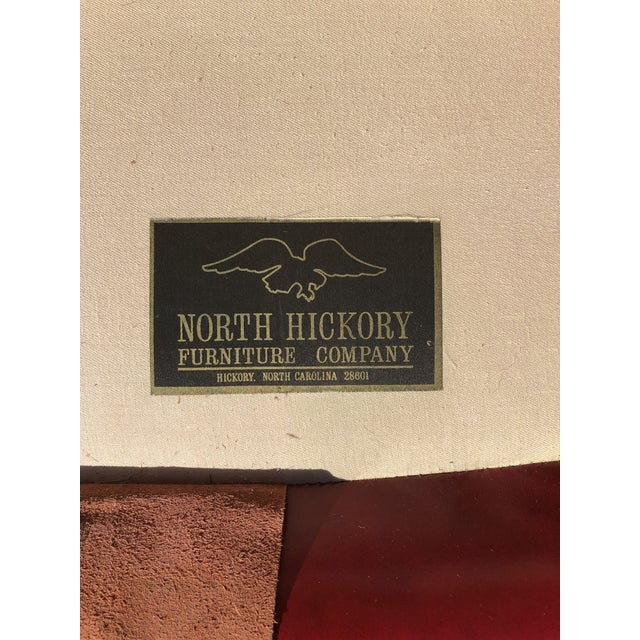 Wood Late 20th Century North Hickory Co Traditional Leather Wingback Chair & Ottoman For Sale - Image 7 of 9