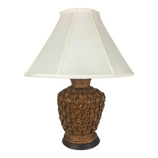 Vintage Woven Palm Frond Lamp From Barbados