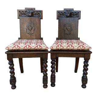 Antique English Barley Twist Gothic Carved Chairs - a Pair For Sale